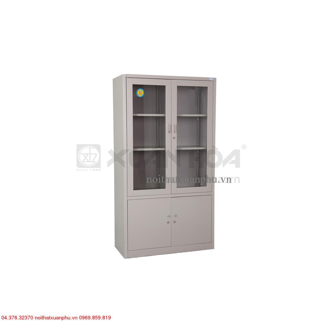 Hình ảnh sản phẩm Tủ sắt văn phòng có cánh kính sơn phủ tĩnh điện Xuân Hòa CA-3A-LG 100 x 45,2 x 183 cm