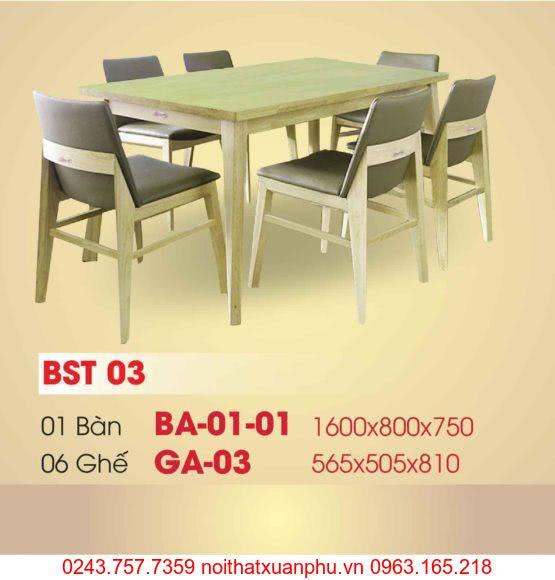Hình ảnh sản phẩm BỘ BÀN ĂN BA-02-01 VÀ GHẾ GA-03 PHÒNG ĂN