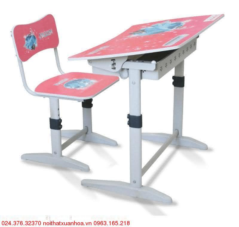 Hình ảnh sản phẩm Bộ bàn ghế học sinh tiểu học Xuân Hòa BHS-14-07 màu hồng