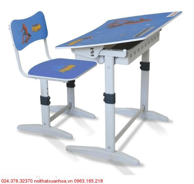 Hình ảnh sản phẩm Bộ bàn ghế học sinh tiểu học Xuân Hòa BHS-14-07 màu xanh nước biển