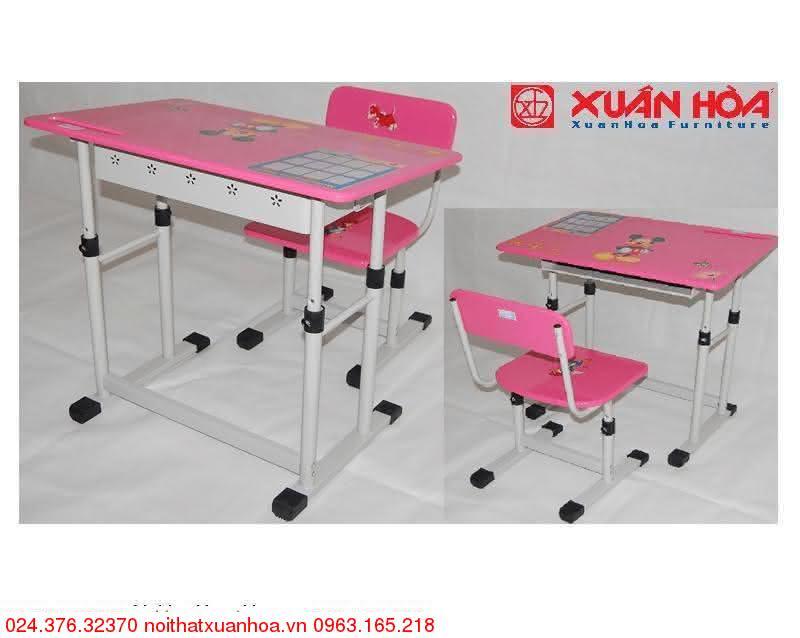 Hình ảnh sản phẩm Bộ bàn ghế học sinh tiểu học BHS-13-05 PU màu hồng