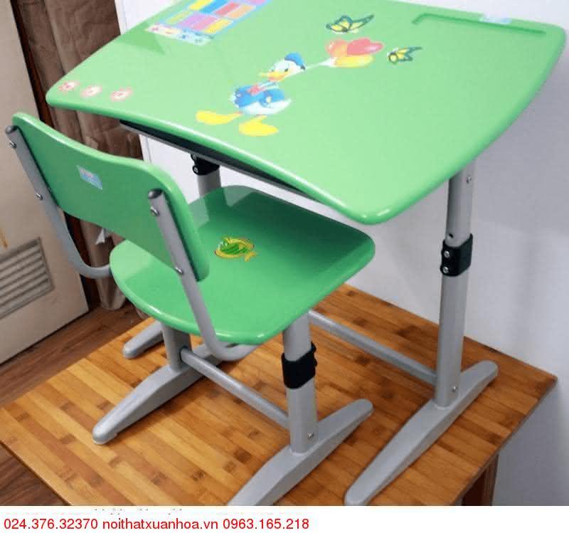 Hình ảnh sản phẩm Bộ bàn ghế học sinh Xuân Hoà BHS-14-06 PU màu xanh