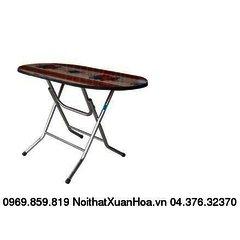 Bàn oval 1200 x 700 inox ,bàn ăn chân gấp,mặt composite Xuân Hoà