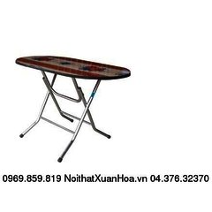 Bàn oval 1400 x 800 inox ,bàn ăn chân gấp,mặt composite Xuân Hoà