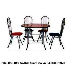 Bàn tròn  ф 1000 inox,bàn ăn chân gấp,mặt composite Xuân Hoà
